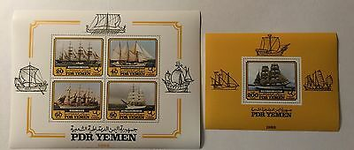 2 YEMEN PDR 1983 SHIPS BOATS ISSUES  Souvenir SHEETS LOT#Y3
