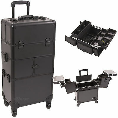 Professional Makeup Case on Wheels 2 in 1 Aluminum Storage Organizer Trolley NIB