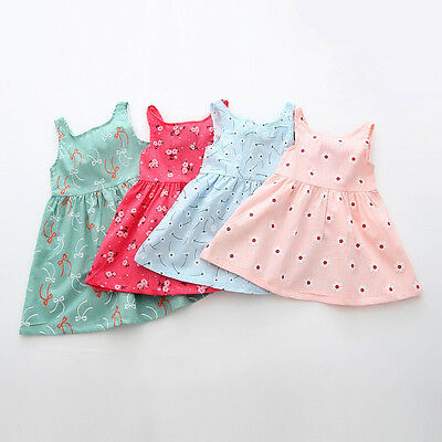 Baby Girl Clothes Newborn Infant Sleeveless Flower Party Dress Summer Outfit Top