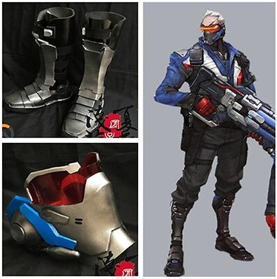 HOT Overwatch Soldier 76 Cosplay Cuish Boots Mask GUN Custom Made Props Weapon