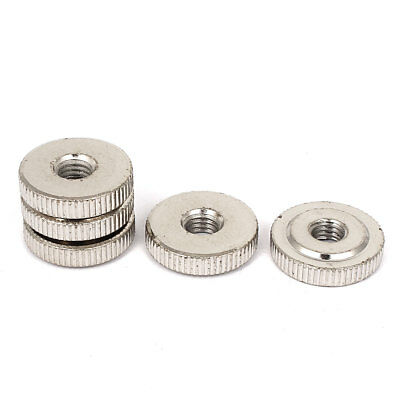 5 Pcs M8 x 24mm Nickel Plated Thin Type Knurled Thumb Nuts DIN 467