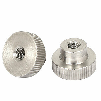 2 Pcs M6x1mm 304 Stainless Steel Leveling Knurled Thumb Nuts Fasteners
