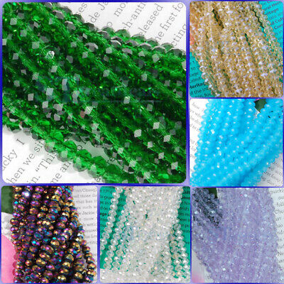 Various Color 4 x 6mm Faceted Crystal Glass Rondelle Loose Beads Strand 16 Inch