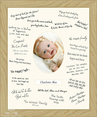 """12x16"""" Solid Oak Wooden Christening Guest Signing Book Frame Signature Messages"""