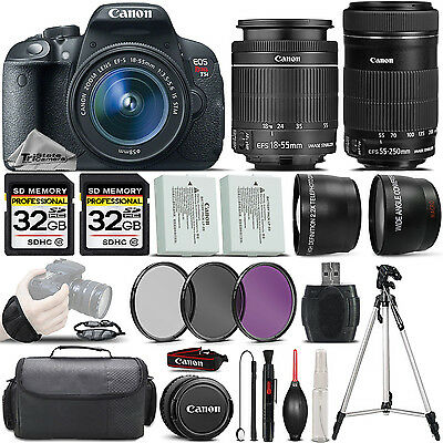 Canon EOS Rebel T5i SLR Camera 700D + 18-55mm IS + 55-250 STM Lens - 64GB Kit