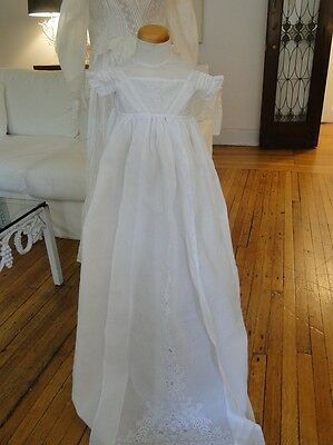 ANTIQUE LACE-CIRCA 1860's,FINE AYRSHIRE EMBROIDERED CHRISTENING GOWN
