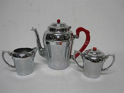 VTG CHROMIUM COFFEE POT w COVERED SUGAR BOWL CREAMER w RED BAKELITE KNOB HANDLES
