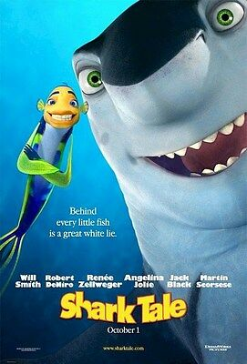 SHARK TALE ~ BEHIND EVERY FISH ~ 27x40 ORIGINAL DBL SIDE ONE SHEET MOVIE POSTER