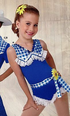 NWT Dance Costume Shorty unitard Country Girl Blue Lace ruffle hem w/sunflowers