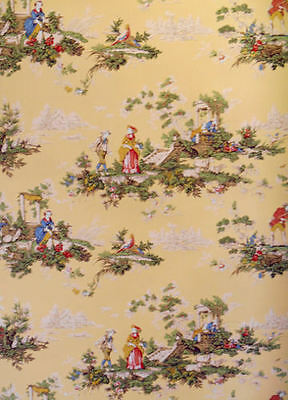 Colorful French Toile on Yellow Background per Triple Roll   142571401