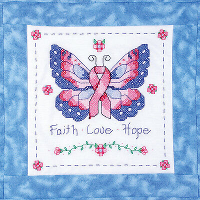 "Stamped Cross Stitch Quilt Blocks 15""X15"" 6/Pkg-Butterfly Of Hope"