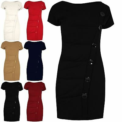 Ladies Plain Shift Dress Womens Crepe Cap Sleeve High Neck Button Ruched Bodycon