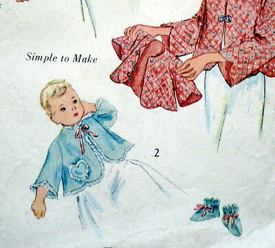 LOVELY VTG 1950s INFANTS BEDJACKET & BOOTIES Sewing Pattern SMALL