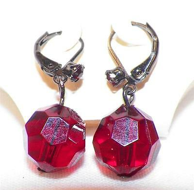 Red Plastic Crystal Earrings Clip On New on Card Original Price $24.00 Mix It
