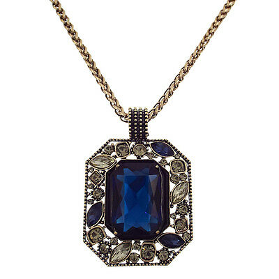 "Luxury Inlay Rectangle Square Long Necklace Pendant Blue Crystal 33"" VTG Design"
