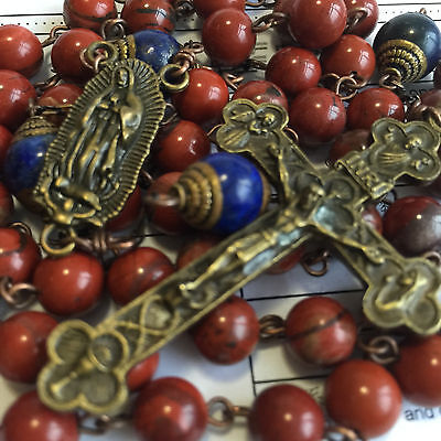 Catholic Red Carnelian Lapis lazuli beads Vintage Rosary Necklace Cross crucifix
