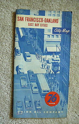 76 UNION OIL GAS - 1950s Vintage CITY ROAD MAP - SAN FRANCISCO OAKLAND EAST BAY