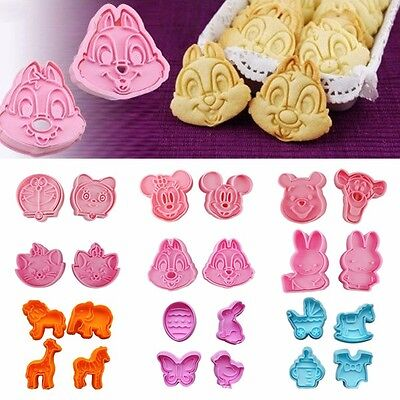 4pcs Cake Decorating Fondant Cookie Biscuit Chocolate Cutter Plunger Mold Tool