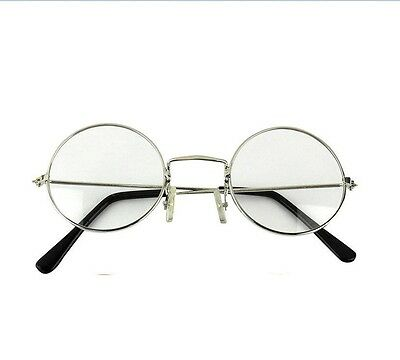 TRIXES Unisex Silver Retro Sixties Style Round Metal Glasses