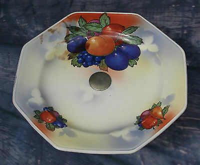 Vintage China English Tazza Cake Stand Lustre Fruit Design and Silver Metal Base