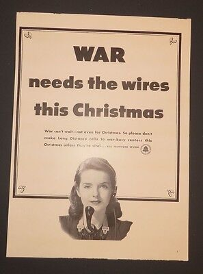Original 1942 Vintage Print Ad BELL TELEPHONE SYSTEM War Needs the Wires