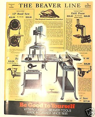 THE BEAVER LINE 1972 TOOL CATALOG #RR31 for hand tools saws lathes drill press
