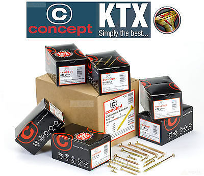 CONCEPT KTX Gold Wood Timber Screws Choose Pack Size M3-M6 or Trade Box/Tub