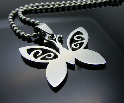 Butterfly Women/ Men's Silver 316L Stainless Steel Titanium Pendant Necklace