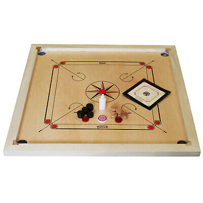 "Carrom Board Game Set 33"" x 33"" Official Size Made in India Mango & Rosewood"