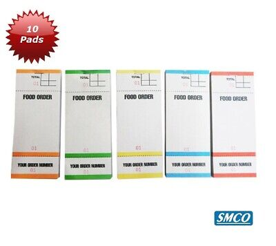 10 Food Order Pads Numbered 1-100 Coloured Bar Restaurant Waiter Book Pads BF84