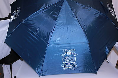 "60"" Large Double Canopy Windbuster Golf Umbrella Navy Blue Semi Automat W.L.G.C."