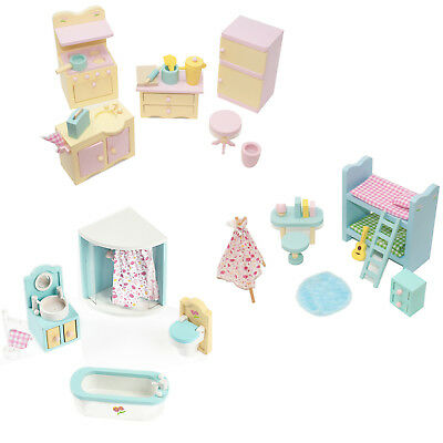 Sweetbee Wooden Dolls House Furniture 3 Sets Kids Bedroom Bathroom and Kitchen