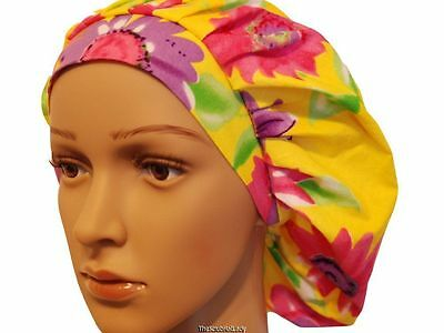 Surgical scrub bouffant Big Flowers On Yellow adjustable hat cap F355 R