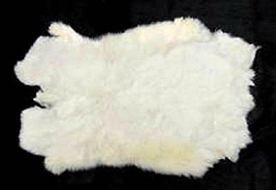 10 REAL NATURAL WHITE GENUINE RABBIT SKIN  hides fur pelt craft rabbits BULK LOT