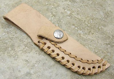 """Rite Edge Fixed Blade Knife Belt Sheath Only Tan Leather up to 3+"""" blades"""