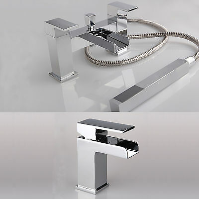 WATERFALL Bath Shower Mixer &  Basin Mixer Tap Set