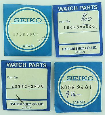 Seiko Vintage New Old Stock Watch Parts In Original Pkts. 3 Crystals + 1 Other.