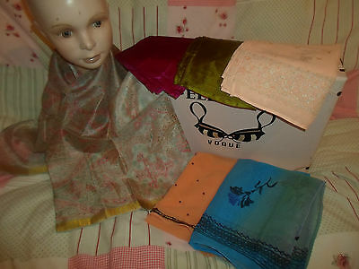 6 NEW Colourful Mixed Fibre Scarves Asian Pakistani Indian Short Duppata  #14
