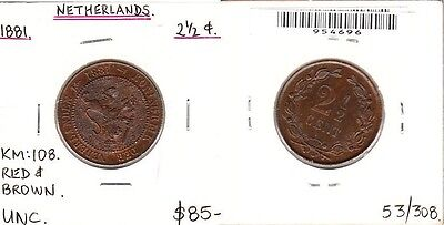 Netherlands - 1881 2 1/2 Cent. KM:108. Red & brown. UNC.