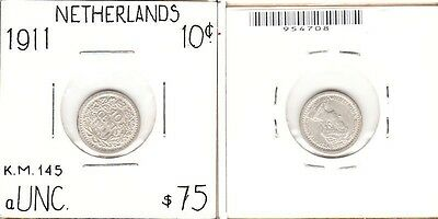 Netherlands - 1911 10 Cent. KM:145. aUNC.