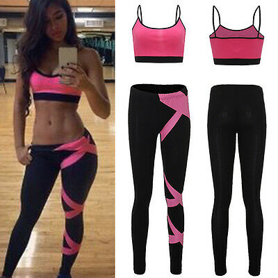 2 PCS Femmes Sports Yoga Fittness Crop Tops Vest Gilet + Leggings Pantalon Pant