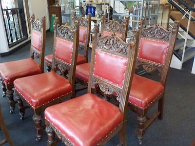 Victorian Set Of 8 Carved Red Leather Seat Dining Chairs In Oak Wood