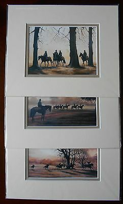 Trio of Matching Horse Racing Related Double Mounted Prints by Caroline Cook