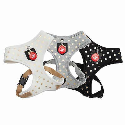 New For 2016 Puppia Deluxe Modern Dotty Spotty Dog Puppy Harness Grey White Blk
