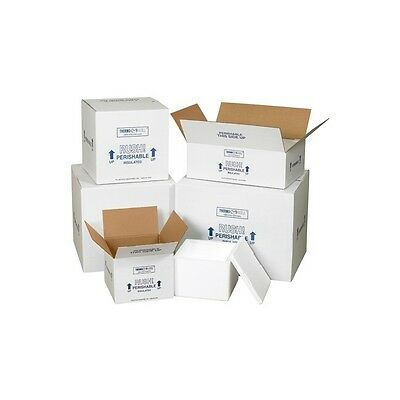"""Insulated Shipping Containers, 12""""x10""""x9"""", White, 1/Case"""