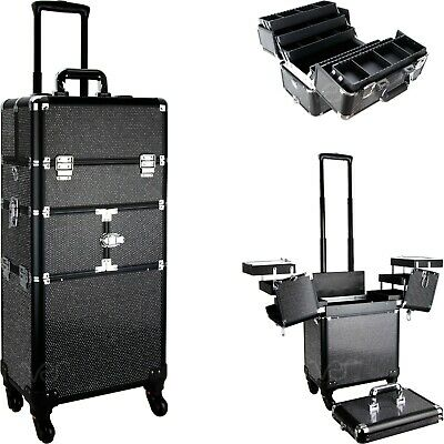 Rolling Makeup Case 2 in 1 Aluminum Train Cosmetic Organizer Pro Artist Sunrise