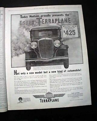 1932 ESSEX TERRAPLANE Hudson Motor Car Company Introduction ADVERTISEMENT News