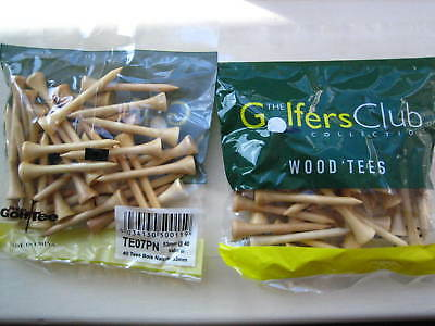 10 x Packs 40 Natural Wooden Golf Tees 53mm Society/Gift 400 Wooden Tees plain
