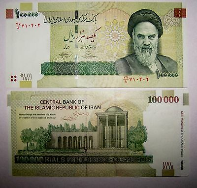 1 x Iran 100000 (100,000) Rials Banknotes-Uncirculated paper money currency