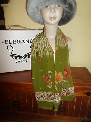 1 NEW Mixed Fibre Ladies Scarf Very Pretty Green+Floral ~ Gift Idea #95